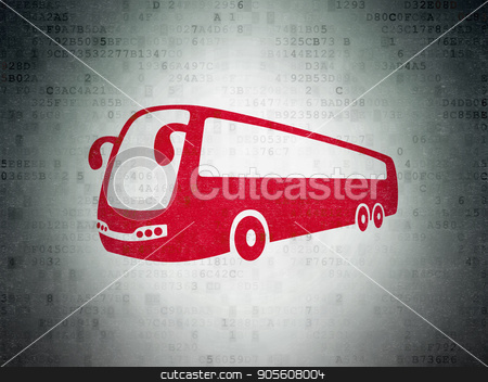 Tourism concept: Bus on Digital Data Paper background stock photo, Tourism concept: Painted red Bus icon on Digital Data Paper background by mkabakov