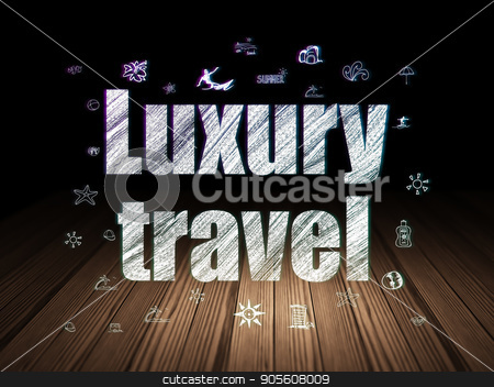 Vacation concept: Luxury Travel in grunge dark room stock photo, Vacation concept: Glowing text Luxury Travel,  Hand Drawn Vacation Icons in grunge dark room with Wooden Floor, black background by mkabakov