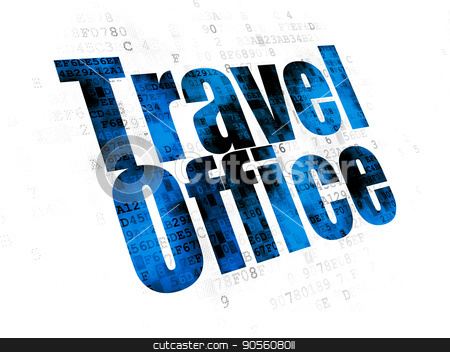 Travel concept: Travel Office on Digital background stock photo, Travel concept: Pixelated blue text Travel Office on Digital background by mkabakov