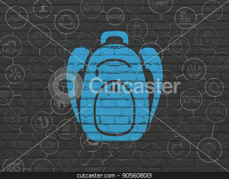 Vacation concept: Backpack on wall background stock photo, Vacation concept: Painted blue Backpack icon on Black Brick wall background with Scheme Of Hand Drawn Vacation Icons by mkabakov
