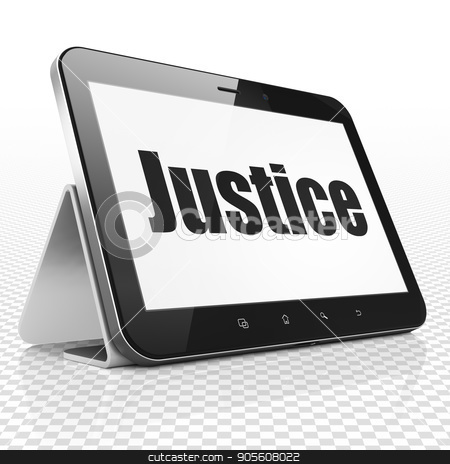 Law concept: Tablet Computer with Justice on display stock photo, Law concept: Tablet Computer with black text Justice on display, 3D rendering by mkabakov