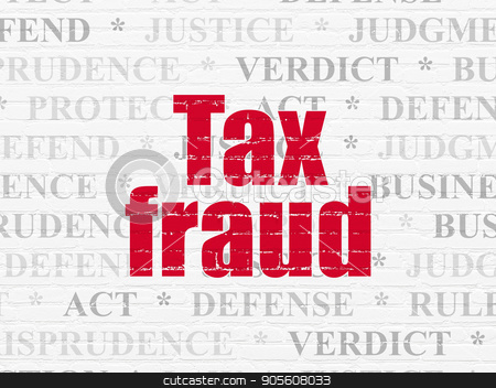 Law concept: Tax Fraud on wall background stock photo, Law concept: Painted red text Tax Fraud on White Brick wall background with  Tag Cloud by mkabakov