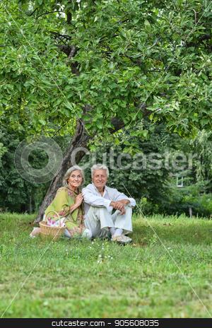 Happy senior couple outdoors stock photo, Portrait of a happy senior couple taking rest outdoors by Ruslan Huzau