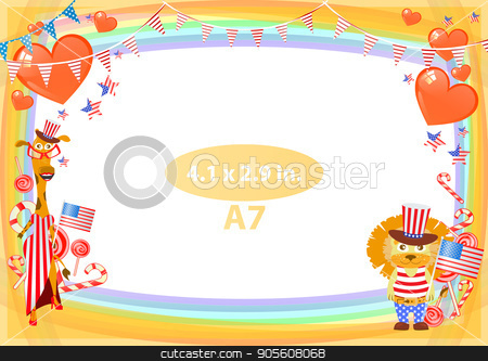 Concept of suspicion. Eggs with painted face. stock vector clipart, Frame. American day illustration. Independence Day. American flag. For the design. vector. Horizontal orientation. Lion in a hat of a chicken by Kseniia