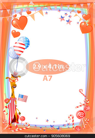 Concept of suspicion. Eggs with painted face. stock vector clipart, Frame. American day illustration. Independence Day. American flag. For the design. vector. Vertical orientation. Giraffe girl with balloons air by Kseniia
