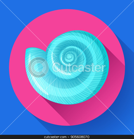 blue sea shell flat vector logo Seafood flat icon stock vector clipart, blue sea shell icon vector shell logo template. Seafood flat icon by MarySan