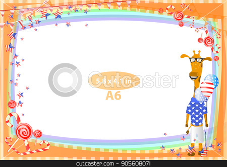 Concept of suspicion. Eggs with painted face. stock vector clipart, Frame. American day illustration. Independence Day. American flag. For the design. vector. Horizontal orientation. Giraffe with balloons by Kseniia