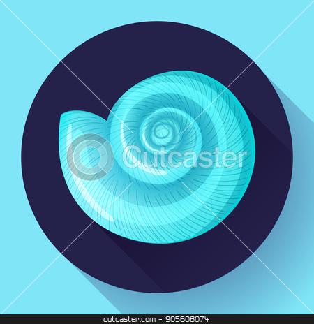 blue sea shell flat vector logo Seafood flat icon stock vector clipart, blue sea shell icon vector shell logo template. Seafood flat icon by MarySan