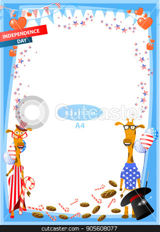 Concept of suspicion. Eggs with painted face. stock vector clipart, Frame. American day illustration. Independence Day. American flag. For the design. vector. Vertical orientation. Giraffes. The hat of the chicken focus with the sweet by Kseniia
