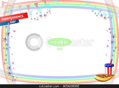 Concept of suspicion. Eggs with painted face. stock vector clipart, Frame. American day illustration. Independence Day. American flag. For the design. vector. Horizontal orientation. Pizza and soda by Kseniia