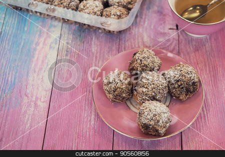 cakes on color background stock photo, Cakes on gradient color background by olinchuk
