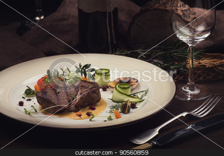 Roasted beef meat stock photo, Roasted beef meat with vegetable and wine by olinchuk