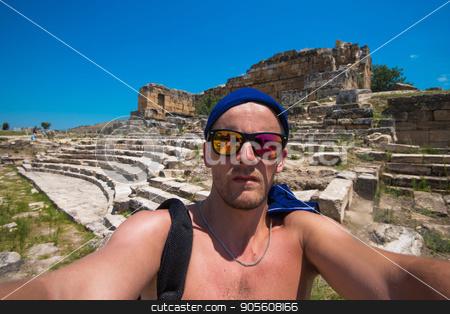 Portrait of man in Hierapolis stock photo, Portrait of man in ancient theatre in the city Hierapolis, near modern turkey city Denizli by olinchuk