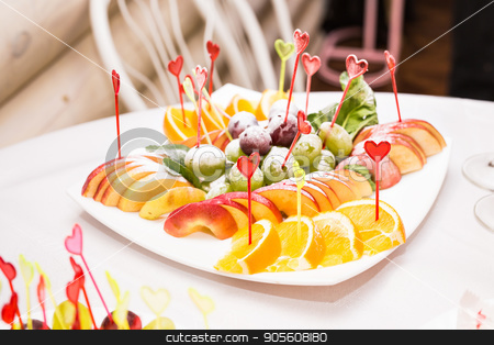 delicious fruit table with different sweets, for wedding reception, catering in restaurant stock photo, delicious fruit table with different sweets, for wedding reception, catering in restaurant by Satura86