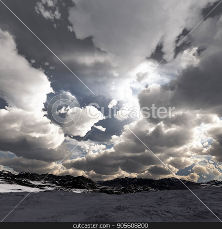 Snow storm in the mountains. Winter day stock photo, Snow storm in the mountains by Dariusz Miszkiel