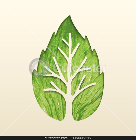 Tree leaf concept design for environment help stock vector clipart, Green tree leaf texture cutout design, concept art for environment care or nature help project. EPS10 vector. by Cienpies Design