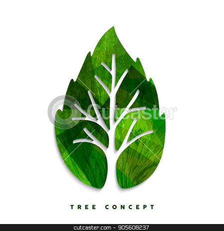 Green tree leaf concept symbol for nature care stock vector clipart, Green tree leaf texture concept design for environment care or nature help project. EPS10 vector. by Cienpies Design