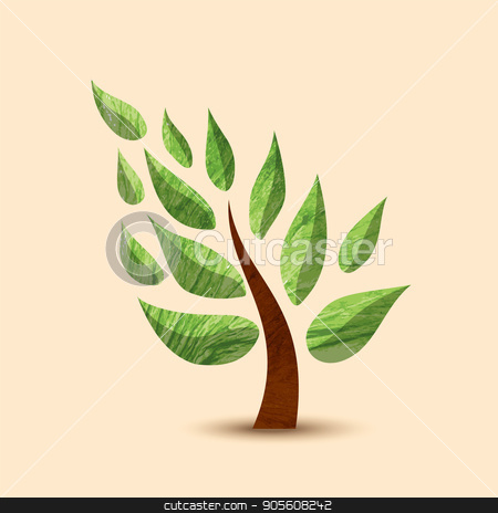 Green tree concept symbol design for nature care stock vector clipart, Simple tree symbol with green texture leaves. Concept illustration for environment care or nature help project. EPS10 vector. by Cienpies Design