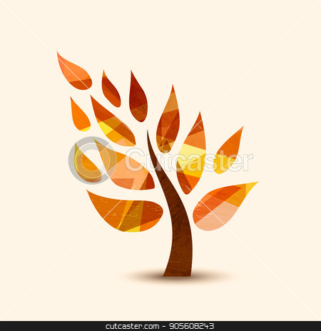 Fall tree symbol concept design for nature help stock vector clipart, Simple tree symbol with autumn leaves. Concept illustration for environment care or nature help project. EPS10 vector.     by Cienpies Design