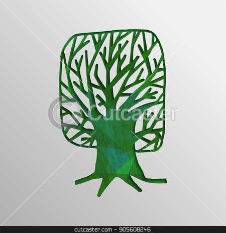 Green 3d tree cutout design concept of nature help stock vector clipart, Green tree 3d cutout texture design, concept art for environment care or nature help project. EPS10 vector. by Cienpies Design