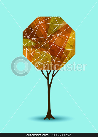 Abstract fall tree geometric illustration design stock vector clipart, Abstract autumn season tree illustration with geometric shape design. EPS10 vector. by Cienpies Design
