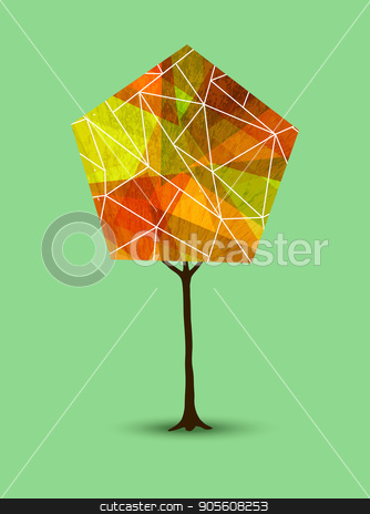 Autumn tree in abstract geometry shape style stock vector clipart, Abstract tree illustration with geometric shapes in autumn season colors. EPS10 vector. by Cienpies Design