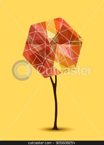Abstract tree geometric illustration design stock vector clipart, Abstract autumn tree illustration with geometric shape design. EPS10 vector. by Cienpies Design