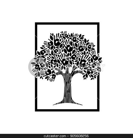 Hand tree concept illustration for charity help stock vector clipart, Tree hands of diverse community. Isolated black and white illustration for social help concept, charity or group work. EPS10 vector. by Cienpies Design