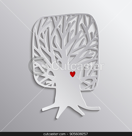 Tree heart concept cutout design for nature help stock vector clipart, Tree love concept illustration, 3d cutout art for environment care or nature help project. EPS10 vector. by Cienpies Design