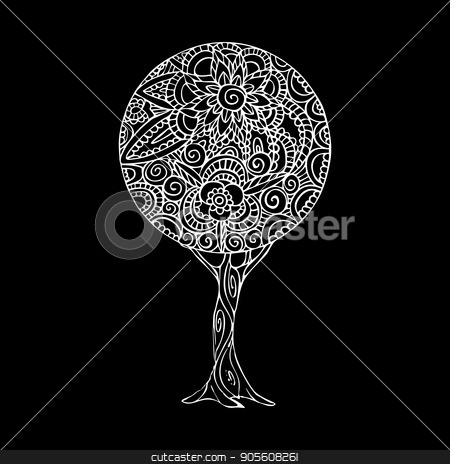 Tree mandala art illustration in black and white stock vector clipart, Tree illustration with black and white mandala design, hand drawn floral decoration in traditional ethnic style. EPS10 vector. by Cienpies Design