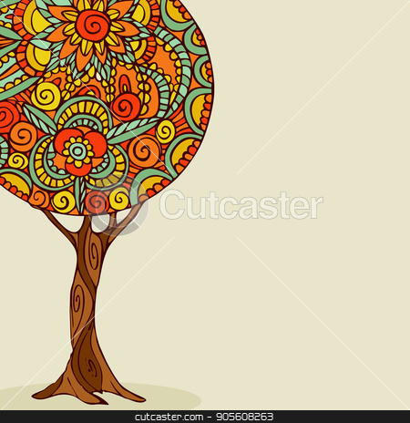 Mandala tree hand drawn floral illustration art stock vector clipart, Tree illustration with traditional mandala design, hand drawn floral decoration in ethnic boho style. EPS10 vector. by Cienpies Design