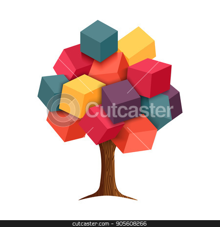 Colorful 3d tree geometric illustration concept stock vector clipart, Abstract 3d tree with colorful cube shapes as leaves, concept illustration design. EPS10 vector. by Cienpies Design
