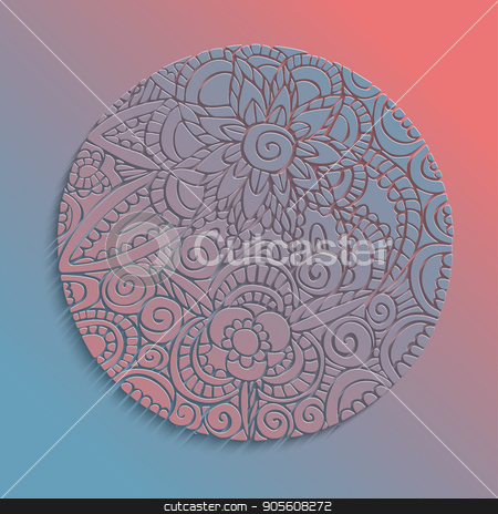 Paper cut flower mandala handmade decoration stock vector clipart, Mandala 3d paper cut design with floral decoration, traditional ethnic style illustration. EPS10 vector. by Cienpies Design