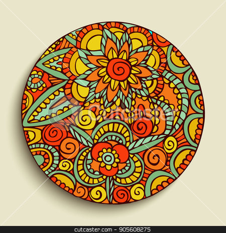 Hand drawn mandala art traditional illustration stock vector clipart, Mandala illustration with colorful floral design, hand drawn decoration in traditional ethnic style. EPS10 vector. by Cienpies Design