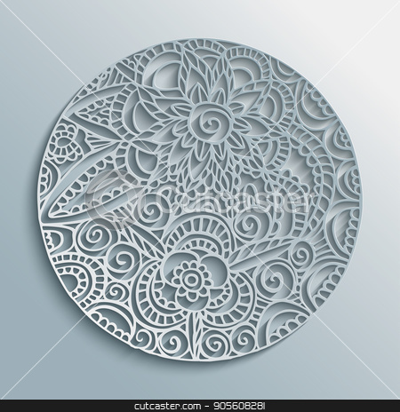 Flower mandala paper cut handmade decoration stock vector clipart, Mandala 3d paper cut design with floral decoration, traditional ethnic style illustration. EPS10 vector. by Cienpies Design