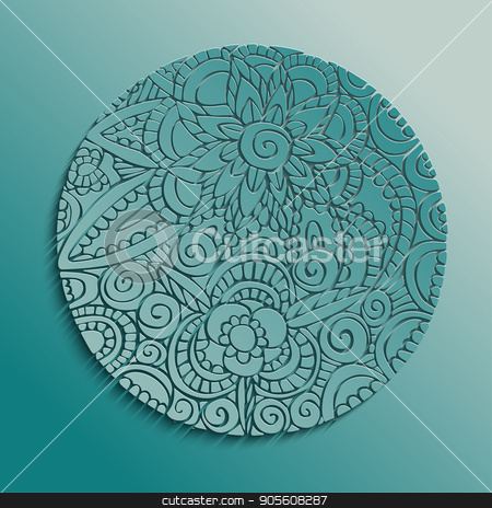 Traditional floral mandala paper cut design stock vector clipart, Mandala art in colorful hand drawn style illustration, traditional ethnic decoration with floral boho design. EPS10 vector. by Cienpies Design