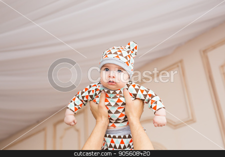 Beautiful cute baby boy stock photo, Beautiful smiling cute baby boy in the room by Satura86