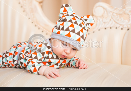 bright portrait of adorable baby boy stock photo, bright portrait of adorable baby boy in the room by Satura86