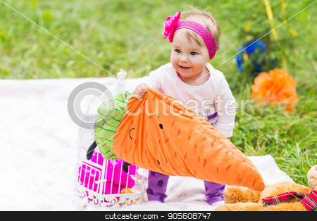 baby smile picnic playful weekend nature stock photo, baby smile picnic playful weekend nature with family by Satura86