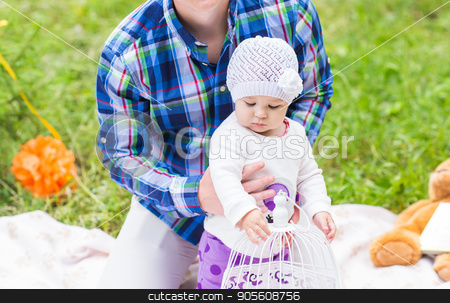 father and baby daughter playing in the park stock photo, father and baby daughter playing in the park in lovedad by Satura86