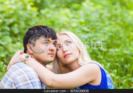 summer holidays, love, romance and people concept - happy loving couple hugging outdoors stock photo, summer holidays, love, romance and people concept - happy loving couple hugging outdoors by Satura86