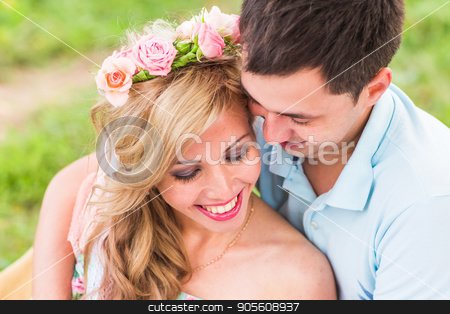 Portrait of happy Couple in love outdoors stock photo, Happy Couple Having Romantic Picnic in Countryside by Satura86