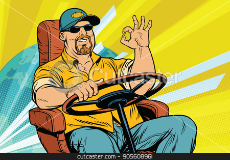 Tourist driver, international transport stock vector clipart, Tourist driver, international transport. Pop art retro vector illustration by studiostoks