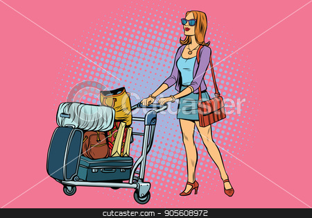 Woman tourist with Luggage cart stock vector clipart, Woman tourist with Luggage cart. Pop art retro vector illustration by studiostoks