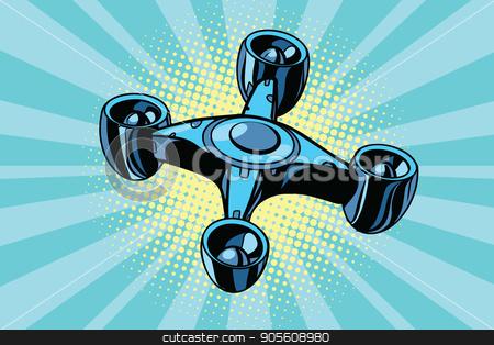 futuristic quadcopter drone stock vector clipart, futuristic quadcopter drone. Pop art retro vector illustration by studiostoks