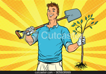 Man gardener with a shovel and sapling stock vector clipart, Man gardener with a shovel and sapling. Pop art retro vector illustration by studiostoks