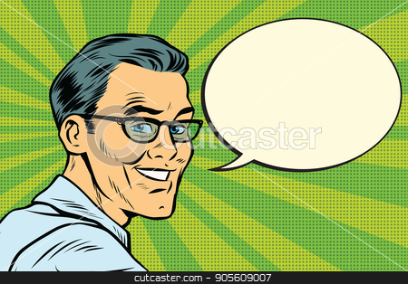 Beautiful smiling man with glasses stock vector clipart, Beautiful smiling man with glasses. Pop art retro vector illustration by studiostoks