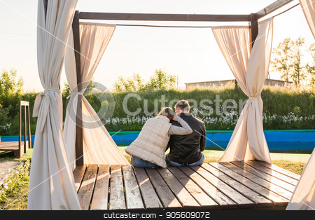 couple hugging in nature back view stock photo, couple hugging in nature back view outdoor by Satura86