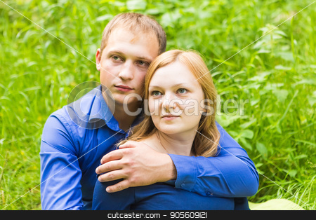 portrait of a beautiful couple in love stock photo, portrait of a beautiful couple in love on nature by Satura86