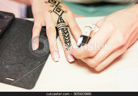 Picture of human hand being decorated with henna. mehendi hand stock photo, Picture of human hand being decorated with henna. mehendi hand by Satura86